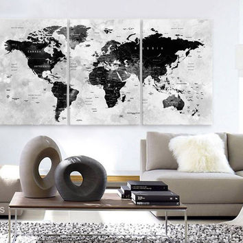 """LARGE 30""""x 60"""" 3 Panels Art Canvas Print Watercolor Map World Push Pin Travel cities Wall Black & White Gray decor Home  (framed 1.5"""" depth)"""