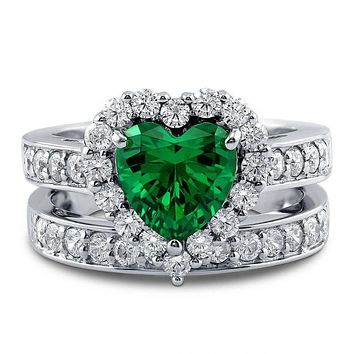 A 1.8T Heart Cut Emerald Green Russian Lab Diamond Bridal Set Wedding Band Ring