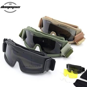 Tactical Military Glasses Army Goggles 3 Lens TR90 Oculos Ciclismo Safety Glasses Men Wargame Eyewear