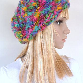 Crochet and hand knitted hat beret 100% Australian merino wool multicolored womens or girls