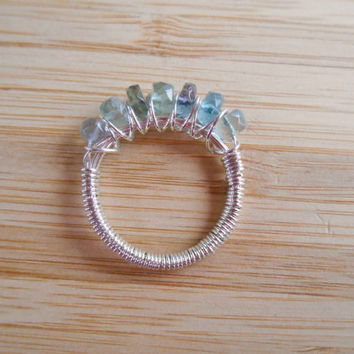 Rainbow Fluorite Faceted Rondelle Ring Seven Beads Wire Wrapped in Sterling Silver Wire Size 7
