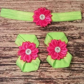 Hot Pink Satin Rhinestone and Lime Green Baby Girl Headband and Barefoot Sandal Set!