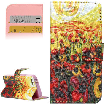 Sea of Flowers Pattern Leather Case with Holder and Card Slots for iPhone 5 / 5S
