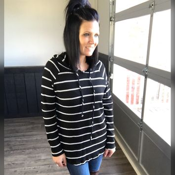Black Striped Waffle Knit Hoodie