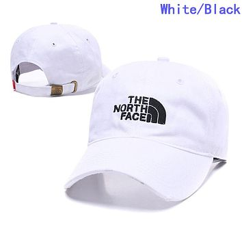 The North Face Summer Women Men Embroidery Sports Sun Hat Baseball Cap Hat White/Black
