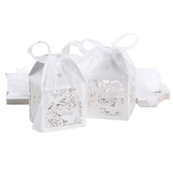 50pcs Hollow Butterfly Style Wedding Favor Candy Boxes Gift Boxes with Hearts and Ribbons