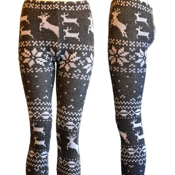 Gray & White Festive Snowflake Dancing Reindeer Nordic Chunky Knitted Leggings Tights
