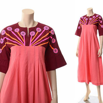 Vintage 60s 70s Delfis Tlaquepaque Embroidered Caftan Dress 1960s 1970s Hippie Festival Boho Mexican Cotton Gypsy Dress