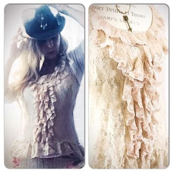 Ruffle tunic top, beige ruffle shirt, layering shirt, True Rebel Clothing