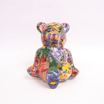 Vintage Paper Mache Teddy Bear Decoupage Bear Tapestry Design Multi Color Floral