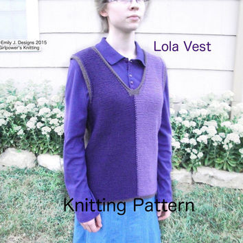 Lola Vest Knitting Pattern, Easy V Neck Vest, XXS - 3X, Colorblock, Contrast Edging, Reverse Stockinette, Light Worsted