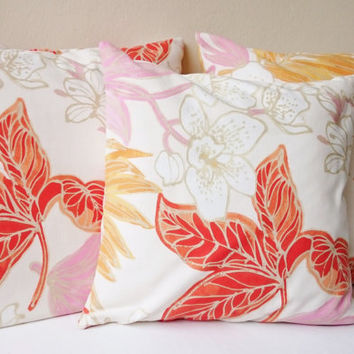 Throw pillows, printed decorative pillows, flowered picture ecru, coral, pink, orange, Handmade cushions, cushion covers made in France