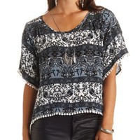 Pom-Pom Trimmed Paisley Floral Print High-Low Top - Black Combo