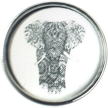 Black And White Sketch Art Design Elephant Picture 18MM - 20MM Fashion Snap Jewelry Charm