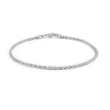 AUGUAU Bling Jewelry 925 Sterling Silver Rope Chain Anklet Italy