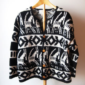 Vintage 1980s Wool Sweater 80s Chunky Cardigan Express Cardigan Handknitted Black White Boho