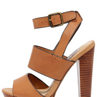 Steve Madden Dezzzy Tan Leather Platform High Heels