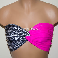 Aztec Tribal and Pink Twisted Bandeau, Tribal Swimwear Bikini Top, Spandex Bandeau Bikini