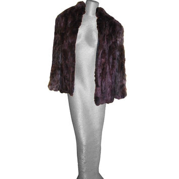 1950s Vintage Fur Jacket, Burgundy Dyed Rabbit & Fox