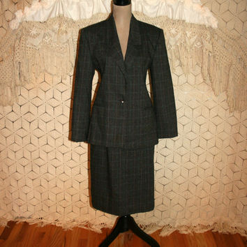 Vintage 80s Charcoal Gray Plaid Suit Plaid Skirt Suit Wool Suit Wool Plaid Teal Gray Women Suit Business Clothes Size 6 Small Women Clothing