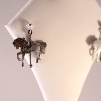 Carousel Horse Earrings- Sterling Silver Horse- Sterling Silver Twisted Poles & Ear Posts- Antique Patina Finish
