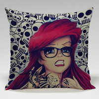 Disney Punk Rock Ariel Mermaid Square Pillow Case Custom Zippered Pillow Case one side and two side