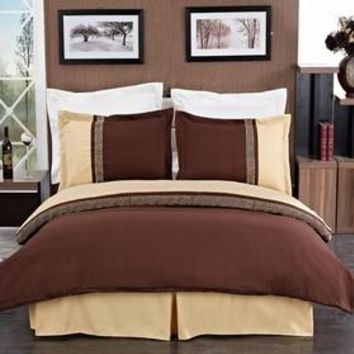 Astrid Gold & Chocolate Embroidered 3-Piece Duvet Cover Set