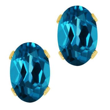 1.10 Ct Oval Shape London Blue Topaz Yellow Gold Plated 925 Silver Stud Earrings