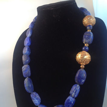 Blue Natural Lapis Necklace with Carved Electroplate Accents