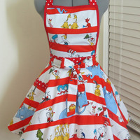 Dr Seuss and friends Apron with a hint of red - Full of Twirl Flounce - Ready to ship