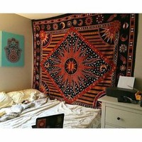 Sun and Moon Tapestries Wall Hangings Bohemian Indian Twin bedspread Bedsheet
