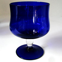 Cobalt Blue Stemmed Dessert Glassware Set of 4