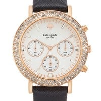Women's kate spade new york 'metro grand' crystal bezel leather strap watch, 38mm