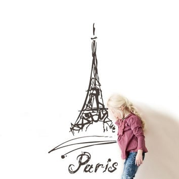 Wall Vinyl Sticker Decals Decor Art  Design Mural eiffel tower Decal Paris France Words Quote Sign Sketch Pencil (z2790)