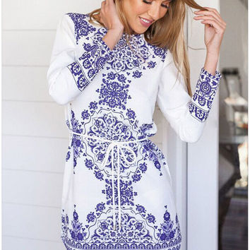 White And Blue Porcelain Sleeve Tie-Waisted Dress