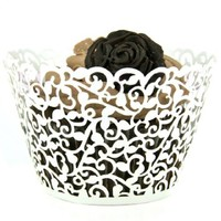 MERSUII 24/60/100/120pcs White Artistic Filigree Little Vine Lace Laser Cut Cupcake Wrapper Liner Baking Cup Muffin Case Bake Cake Box Decor Trays for Wedding Birthday Party (100)