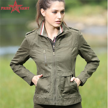 Lady jacket spring Army Green Slim Fit chaqueta militar mujers Coat Women Green Military Jackets Blouses Coats GS-823 P29