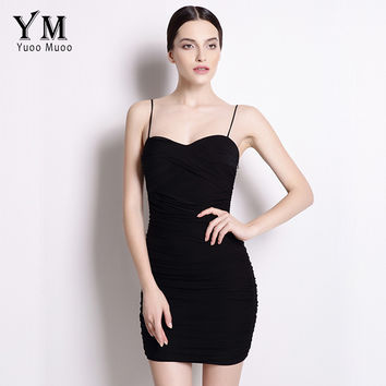 YuooMuoo 2016 New Sexy Bodycon Dress Women Little Black Dress Spaghetti Strap Club Mini Dress Sundress Hot Sale Women Clothing
