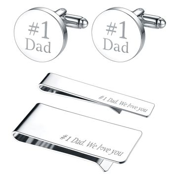 BodyJ4You 4PC Cufflinks Tie Bar Money Clip Button Shirt Father Day Love Best Dad Gift Box Set