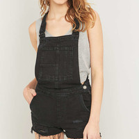 BDG Raw Edge Black Denim Dungarees - Urban Outfitters