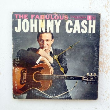 Clock, Record Clock, Record Cover Art Clock, Wall Clock, Johnny Cash Record Cover, Recycled, Upcycled Gift Item #5