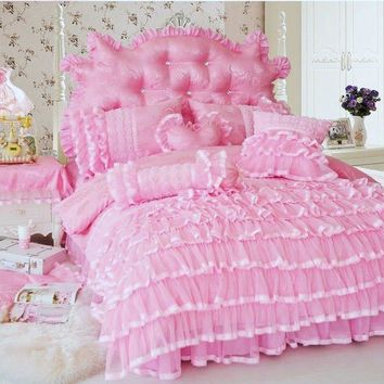 4pc. Luxury Korean Princess Lace Ruffles 100% Cotton Duvet Cover Bedding Set