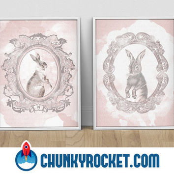 Classic Hare Modern Vintage Prints / Rabbit / Set of 2 11x17 Inch Prints / Home Decor / Rustic / Classic Rabbit