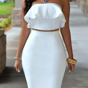 White Ruffle Backless Bandeau Cut Out Off Shoulder Slit Bodycon Homecoming Midi Dress
