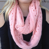 Coral Soft Knit Infinity Scarf