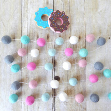 Nursery Decor, Felt Ball Garland, Baby Girl Room, Girl's Room, Pom Pom Garland, Baby Shower Decor, Cake Smash, Shabby Chic, Mint Aqua, Pink