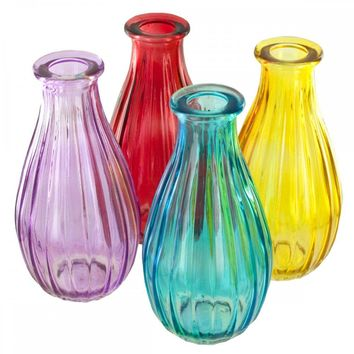 Ribbed Colored Glass Bottle Vase