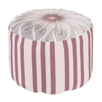 Floral Fantasy, Abstract Modern Pastel Flower Pouf