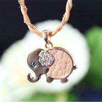sweet elephant leather short 18k gold rhinestone necklace