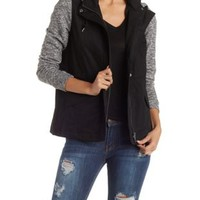 Black Fleece Anorak Jacket by Charlotte Russe
